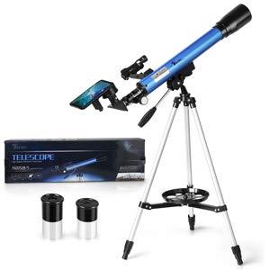Telmu - Telescopio astronómico para Principiantes con trípode de Aluminio, Adaptador para Smartphone