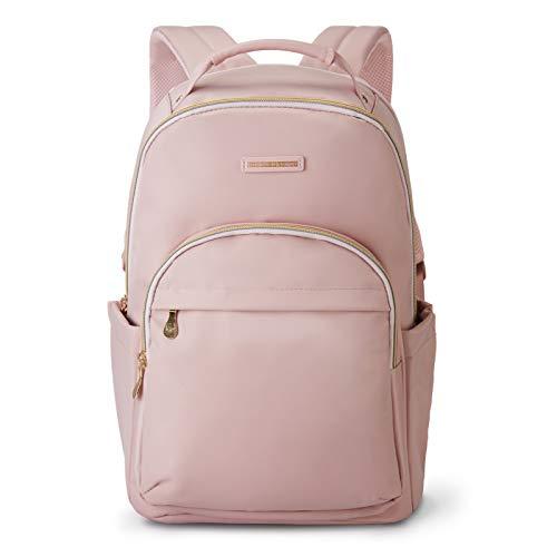 """Laptop Backpack LIGHT FLIGHT Backpacks for Women Travel Work Laptop Bag School College Bookbag Large Computer Daypack Fits 15.6"""" Notebook Pink"""