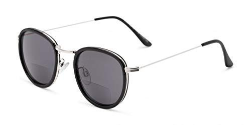 Bifokale Lesesonnenbrille Rund Schwarz Silber Leichte Brille Gestönt UV400 Herren Damen Hard Case Tuch 1,5