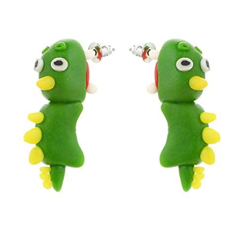 Bonitos pendientes con diseño de dinosaurios en 3D, bonitos dibujos animados en 3D, bonitos animales, dinosaurios, zorro, hipopótamo, tono, para piercing