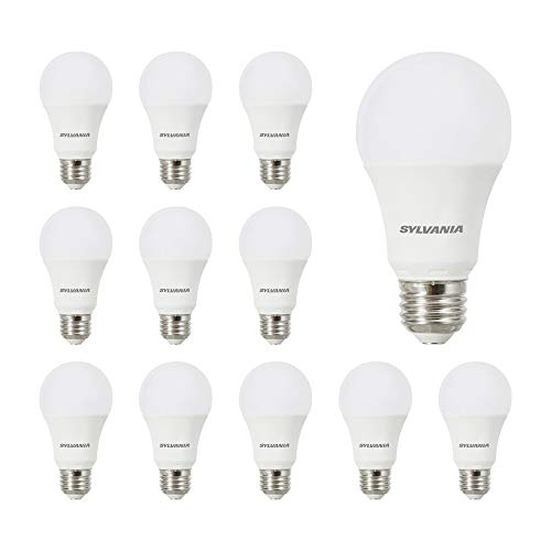 SYLVANIA LED A19 Light Bulb, 100W Equivalent Efficient 14W, Medium Base, Frosted 5000K Daylight, 12 pack