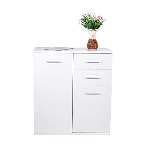 EBTOOLS Aufbewahrungsschrank Kommode Schrank Nachttisch Buffet mit 2 Schubladen und 2 Türen für Eingang Badezimmer Schlafzimmer weiß