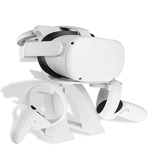 NEWZEROL 1 Juego de Soporte VR Compatible con Oculus Quest, Oculus Quest2, Oculus Rift, Oculus Rift S, HTC Vive, HTC Vive Plus, HTC Vive Pro VR Headset Stand, Controller Display Holder - Blanco