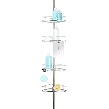 Better Living Products 13406 FineLine 4-Tier Shower Caddy with Mirror Stainless Steel