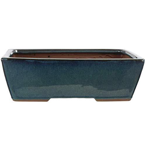 Bonsaischale 30x22x9.5cm Blaugrün Rechteckig Glasiert
