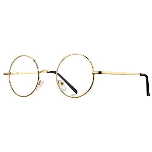 Pro Acme Non Prescription Clear Lens Glasses Retro Small Round Metal Frame (01 Blue Light Blocking Glasses - Gold)
