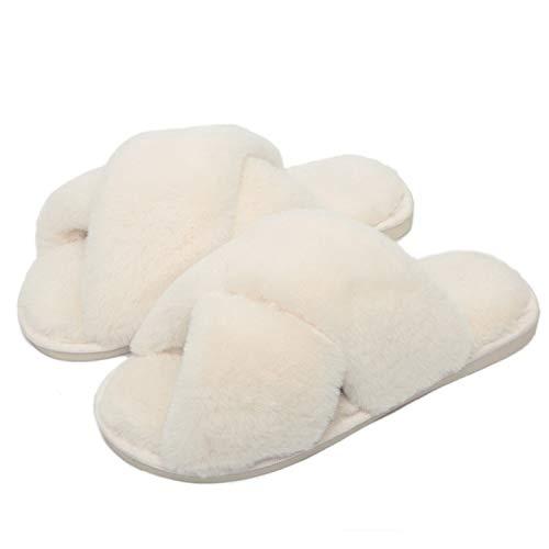 Fadezar Pantofole Peluche Donna Ciabatte da Casa Comode Invernali Moda Scarpe Sandali Slippers Bianca Dimensione dell'Etichetta 40/41 für EU 39/40
