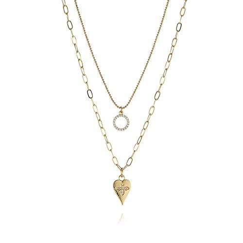 WDBUN Collar Colgante Joyas Nuevo Collar de Cadena de clavícula de Doble Cadena Un Colgante de círculo de corazón de Amor cumpleaños Fiesta Regalo