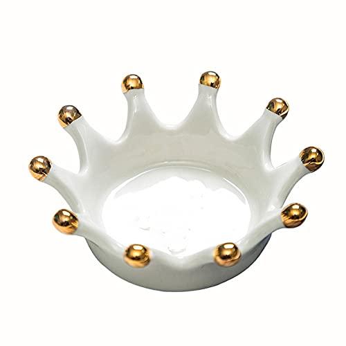 ZSQZJJ Scultura Retro Ornamento Creativa Moderna,Corona d'oro Piatto in Ceramica Gioielli Anello Collana Vassoio portaoggetti Decorazione Domestica