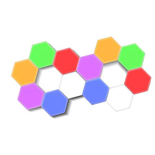 LED Hexagon Lights - Bright Colorful LED lamp Modular Touch Sensitive lightingHexagon Wall LED Light Kit, 12 Pack, 6 Colors, Touchpad Switch, Magnetic & Reusable - Clearon