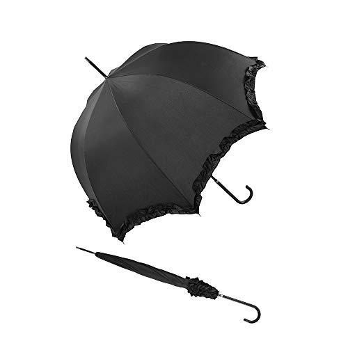 Le Monde du Parapluie Joy Heart R/ésistant au Vent 89 cm Rose//Imprim/é Chats Noirs Parapluie Canne Long Femme Automatique