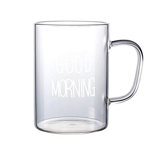 SIPERLARI Vasos de cristal transparente de 500 ml, tazas de té de café de cristal de buena mañana, tazas de café simples con asa, el mejor regalo de cumpleaños y Navidad para mamá papá amigos