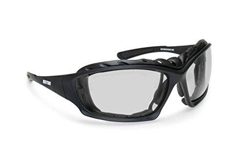 Bertoni Motorradbrille Sportbrille mit Sehstärke Antibeschlag UV Schutz - mit Austauschbare Bügel oder Kopfband - AF366 Bikerbrillen Windschutz für Brillenträger