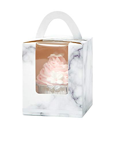 Yotruth Marble Cupcake Boxes Individual Easy Assembly Pop-up 50 Sets with Handle Window and Insert (Choice Series)