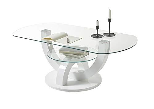 Stolkom Glastisch Boston weiß Hochglanz lackiert Couchtisch Wohnzimmertisch Tisch