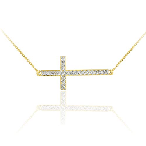 14 ct Gold Sideways Cross CZ Pendant Necklace Necklace (Available Chain Length 16'- 18'- 20'- 22') D