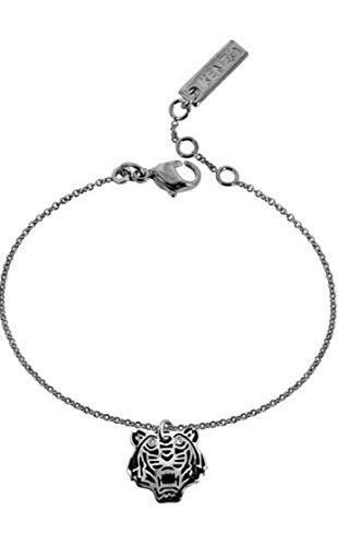 Bracelet Kenzo tigre argent, émail noir et diamants