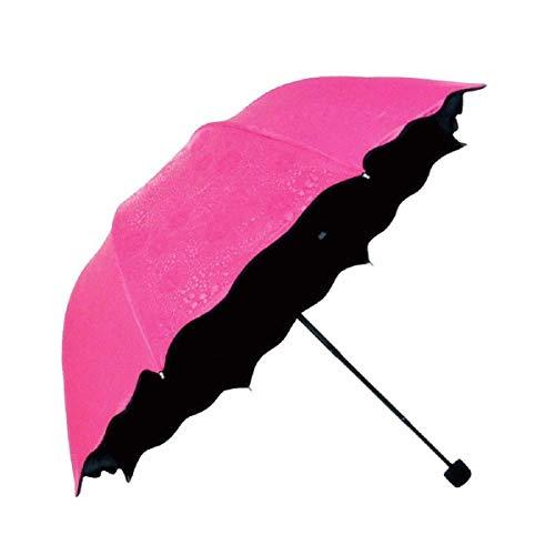Clomana Triple Folding Mini Blossom Magic Compact Umbrella for Girls and Women Multi Color-