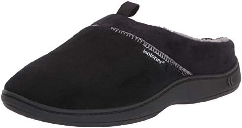 isotoner Men s Open Back Slipper with Memory Foam and Indoor Outdoor Sole Microterry Black 13 product image