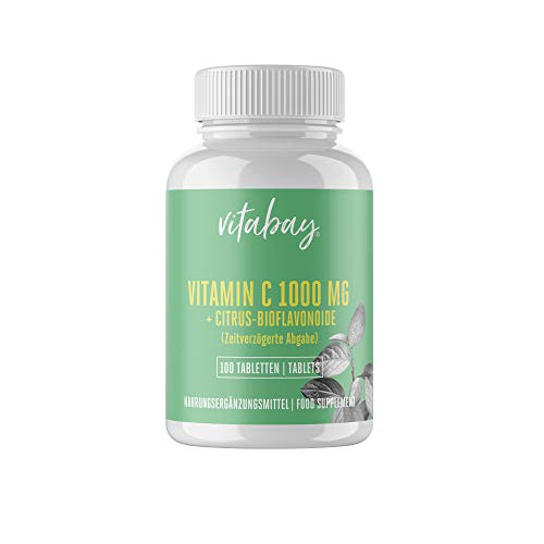 Vitamina C, 1000 mg + Bioflavonoides - Liberado por el Tiempo, 100 Tabletas Veganas