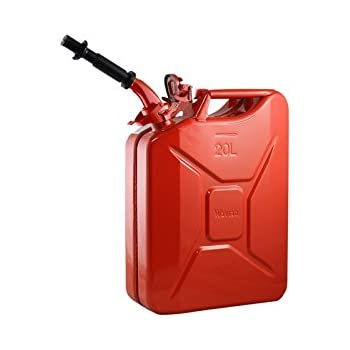 Wavian USA JC0020RVS Red Authentic NATO Jerry Fuel Can and Spout System (20 Liter)