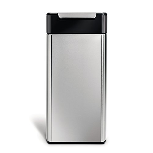 simplehuman, cubo rectangular con touch-bar, acero inoxidabl