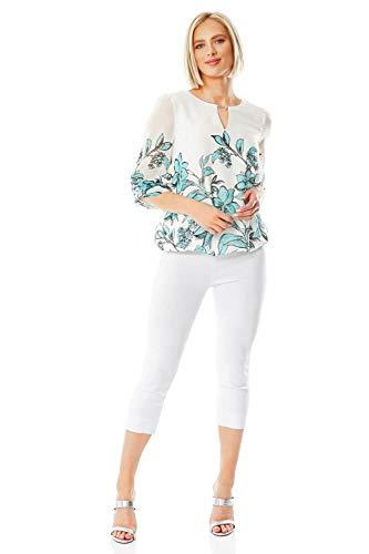 Roman Originals Blusa de gasa con estampado floral para mujer, cuello redondo, manga de 3/4 de longitud, elegante, casual, para trabajo, fiesta, saliendo de gasa, blusa con dobladillo de burbu