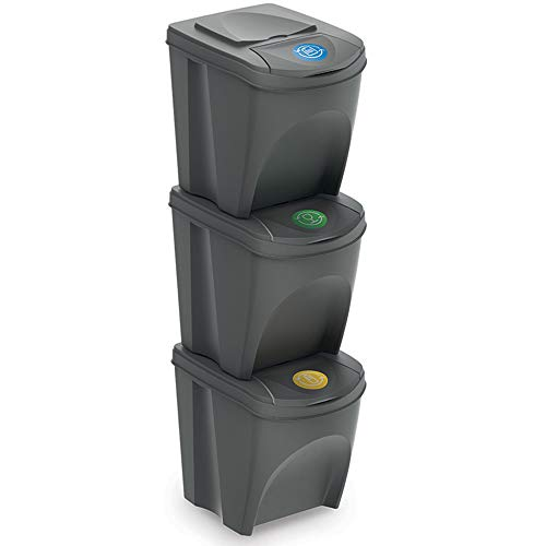 Guaranteed4Less 3 x 25L Recycle Bins Food Stackable Waste Recycling Kitchen Garden Dustbin Lids