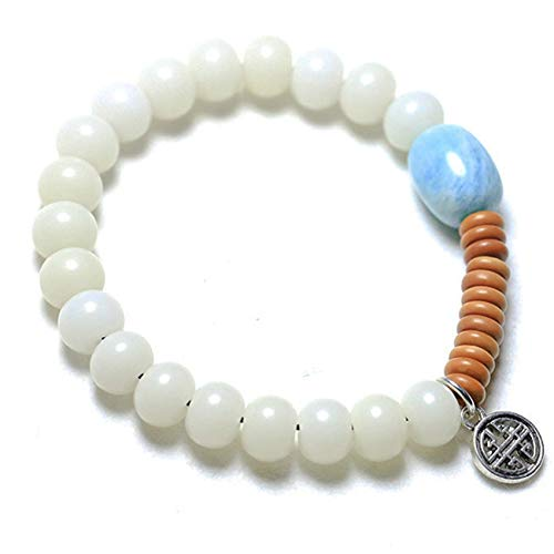 Feng Shui Wealth Bracelet for Women White Jade Bodhi Tibetan Silver Pendant Amazonite Bucket Beads Olive Stone Bracelet Stretchy Bangle Hand Carved Bead Attract Money Good Luck
