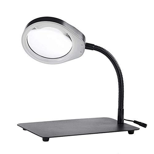 ENJOHOS Lámpara de aumento, 10X Lámpara Lupa - Lámpara de mesa y escritorio con luz para leer, hobbies, manualidades (Desktop Black, 10X)