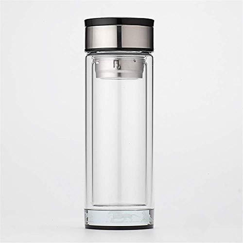 LYMUP Termo de Acero Inoxidable Botella de Agua Potable |a Prueba de Fugas Taza de Cristal Doble portátil con la Taza de té Tapa Taza de Gran Capacidad Oficina Transparente,Copa con Tapa