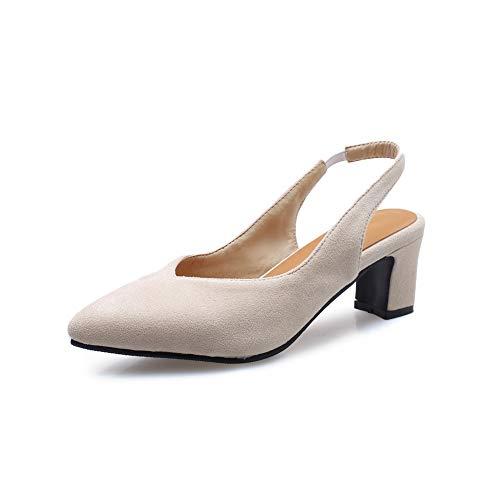 Bloqueo de mujeres Bombas de calor Sandalias Zapatos de verano Elegante corte tacones altos Sandalias Zapatos de noche Tamaño 30-48,Beige,46
