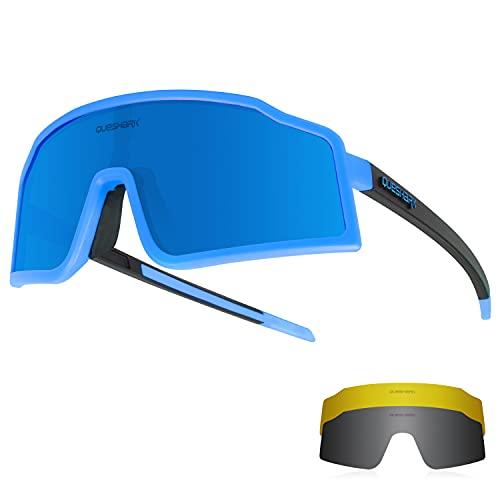 Queshark Ciclismo Gafas de sol Gafas de bicicleta para hombres Mujeres 1 Lente polarizada 2 HD Anti UVA UVB Para MTB Bicicleta de carretera Correr Pesca Senderismo