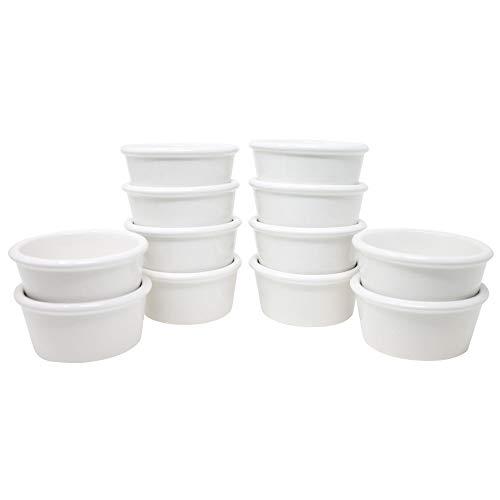 ToCi 12 weiße Creme Brulee Förmchen 9,5 cm | Schälchen für Ragout Fin | Pastetenform aus Keramik | auch für Schoko-Souffle