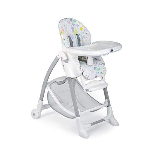 CAM Hochstuhl GUSTO | Baby-Stuhl mitwachsend & vielseitig verstellbar inkl. Tablett | Abwaschbares Kissen | Weiche Polsterung & verstellbarer Gurt | Kinder-Hochsitz - Made in Italy (Happy Animals)