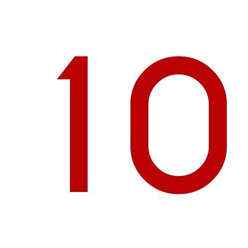 Zahlenaufkleber Nummer 10, rot, 10cm (100mm) hoch, Aufkleber mit Zahlen in vielen Farben + Höhen, wetterfest
