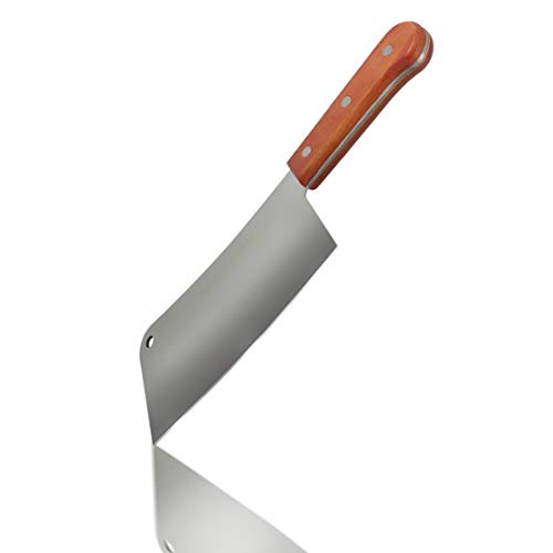 "Professional Meat Cleaver - Stainless Steel Chopper with Natural Wood Handle Heavy-Duty Professional Butcher Knife Perfect to Cut and Chop Meat, Bones, Vegetables (10"" blade / 16.5"" total)"