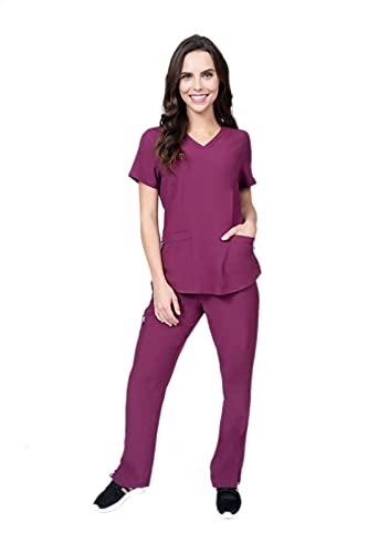 Elements Select ES2976 Mock Wrap Top and Cargo Pocket Yoga Pant Veterinarian Dentist Nursing Scrubs Set for Women (Wine, 2X-Large)