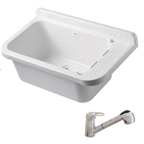 VBChome Ausgussbecken mit Armatur 50 x 35 x 21 cm Spülbecken Waschtrog mit Überlauf Waschbecken für Gewerbe Waschraum Garten inkl. Ablaufgranitur