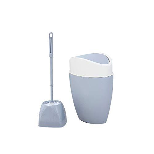 YI0877CHANG spazzolone WC Scopino e pattumiera for Manico Lungo con Set di Accessori Scopino for WC e pattumiera Ideale for Il deposito e la Pulizia del Bagno scopino WC (Color : Gray+White)