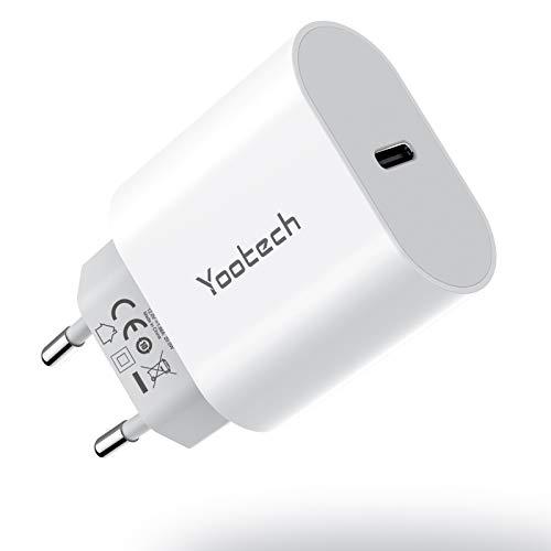 yootech Caricatore USB C, PD 20W Caricabatterie da Muro,Alimentatore USB Ricarica Rapida per iPhone 12/12 Pro Max/11/11 Pro Max/Xs max/Xr/X/Xs/8, Galaxy S20/S10,Huawei,Xiaomi,iPad Pro/Air,AirPods Pro