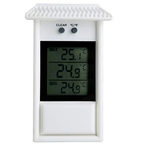 Meichoon Termómetro de interior para el hogar, pantalla LCD inalámbrica, termómetro de refrigerador interior, para jardín, exterior, impermeable, montado en la pared, máximo valor mínimo