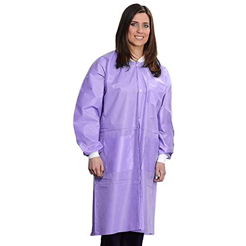 ValuMax 3560PPS Easy Breathe Cool and Strong, No-Wrinkle, Professional Disposable SMS Knee Length Lab Coat, Purple, S, Pack of 10