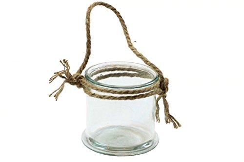 CreaTina Windlicht aus Glas mit Kordel, 10 cm hoch