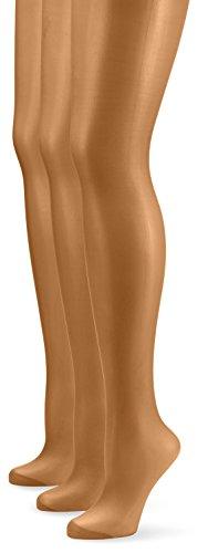 Nur Die Damen Strumpfhose 726969/3er Pack Seidenfein, 15 DEN, Gr. 44 (Herstellergröße: M (40-44)), braun (bronze 213)