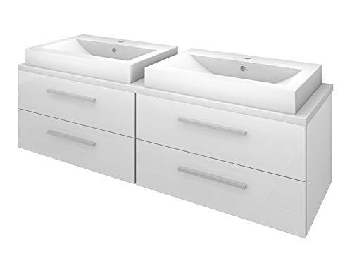 Waschtisch mit Waschbecken, Unterschrank City 201 160cm Hochglanz weiß