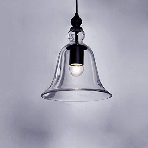 Office kroonluchter Industriële Vintage Retro Creative enkel licht Mini hanglamp hanglamp plafondlamp Kroonluchter Met Duidelijke Bell glazen kap Onderzoek kamer kroonluchter (Color : Cool White)
