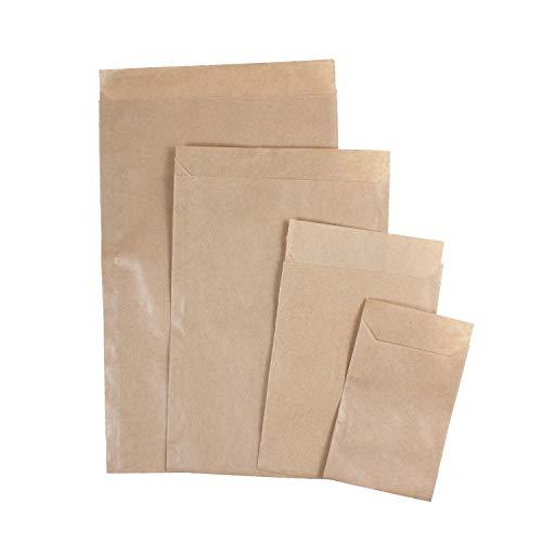 Papier Flachbeutel mit Klappe zum Verschließen, 100 Stück, Zweinaht Papiertüte ohne Seitenfalte und ohne Boden, Papierumschlag 6,5 x 9 cm