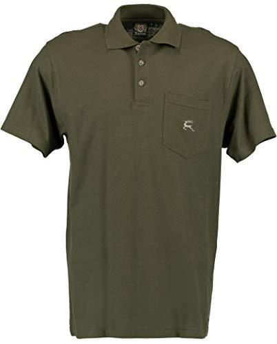 OS Trachten® Polo-Shirt Springender Hirsch jagdliches T-Shirt ohne Arm Oliv/grün NEU mit Brusttasche hochwertig 2XL (56)