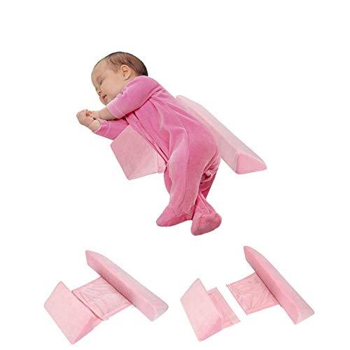Seitenstützkissen für Babys,Abnehmbares herausnehmbares und waschbares,Anti-Rollover Seite Schlafkissen Dreieck Baby Lagerungskissen,zum Schlafen Tiefschlafen,Baby Junge/Mädchen universell (Rosa)
